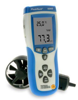 PeakTech® 5060 Flügelrad-Anemometer & IR-Thermometer mit USB
