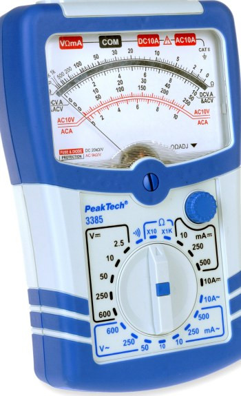PeakTech® 3385 Analog-Multimeter, 600 V AC/DC; 10 A AC/DC