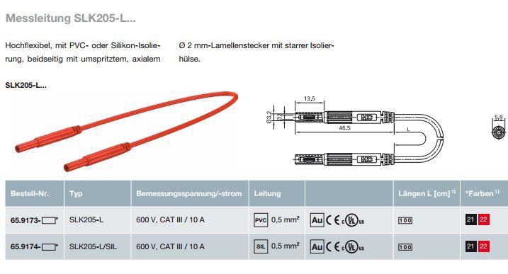 Messleitung SLK205-L...;2 mm